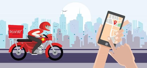 Доставка человек ездить на велосипеде получить заказ. рука держит мобильный смартфон открытое приложение