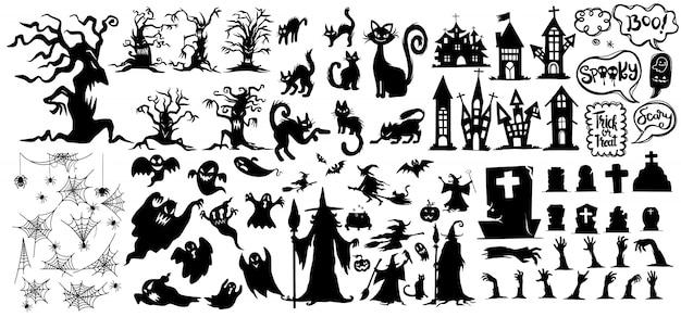 ハロウィンシルエットアイコンとキャラクターのコレクション。