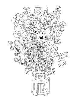 ヒップスター手描き花花瓶