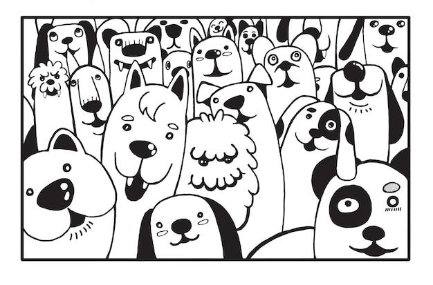 手をかわいい犬のドロースタイルを描く