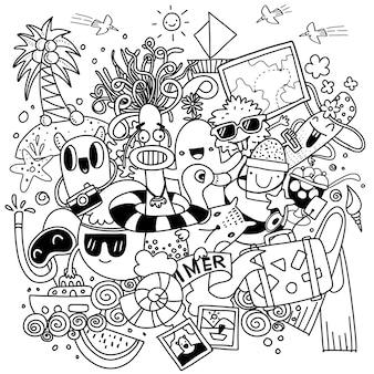 Ручной обращается векторные иллюстрации набор летних элементов