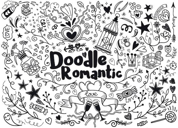 ロマンチックなスタイルの手描きの要素の大きなセット