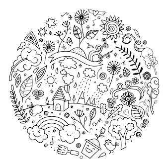 かわいい落書き生態概念を描く手