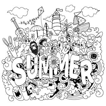 Набор летних элементов каракулей.
