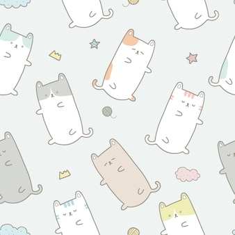 かわいい猫の漫画のパステルのシームレスなパターンの壁紙