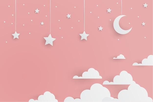 かわいい愛らしい白い星と雲の紙をピンクの背景にカットスタイル