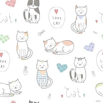 かわいい子猫の猫の漫画の落書きのシームレスなパターン