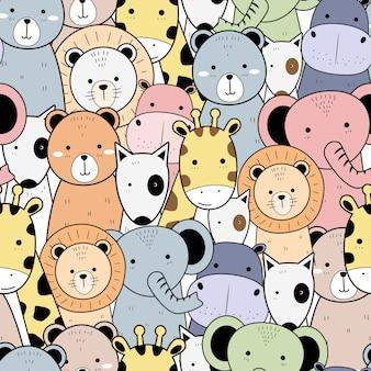 Симпатичные животные мультфильм каракули бесшовные шаблон