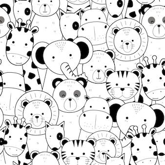 かわいい細い線の動物の漫画の落書きのシームレスなパターン