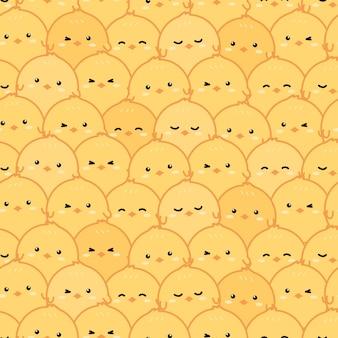 かわいい小さな黄色の鶏漫画落書きシームレスパターン