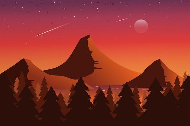 星と月の美しい夕日の山と松林