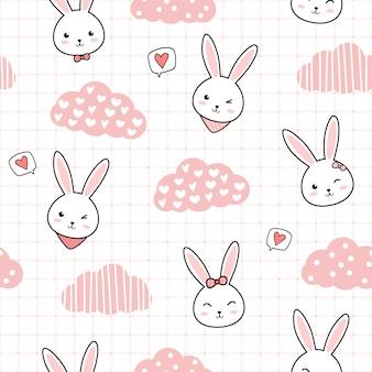 Милый кролик кролик мультяшный каракули бесшовный фон