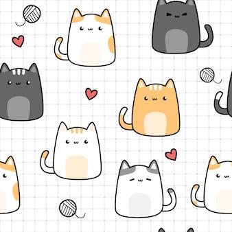 かわいい猫子猫漫画落書きグリッド上のシームレスパターン