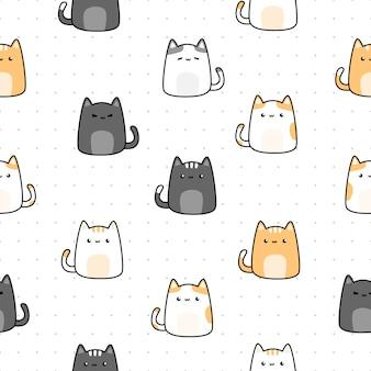 Милый кот котенок мультфильм каракули бесшовный узор на точке