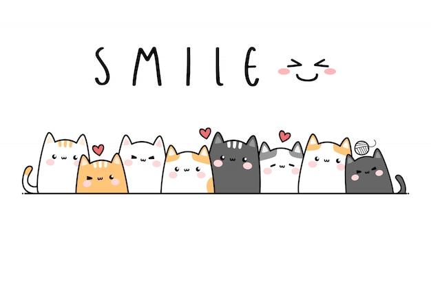 かわいい猫子猫家族漫画落書きバナー