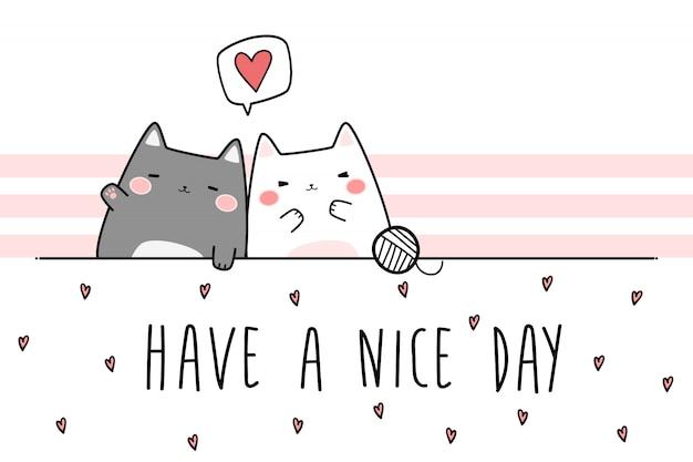 かわいいぽっちゃりカップル猫挨拶漫画落書き