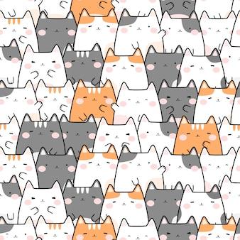 Симпатичный пухлый кот мультфильм каракули бесшовный фон