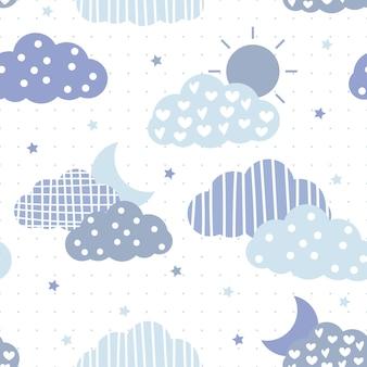 かわいいブルーのテーマの雲と空の漫画のシームレスパターン
