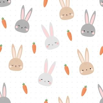 かわいいウサギのバニーヘッド漫画落書きシームレスパターン