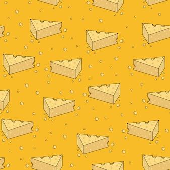 かわいい黄色チーズ漫画のシームレスパターン