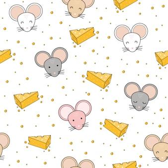 かわいいマウスヘッド漫画のシームレスパターン