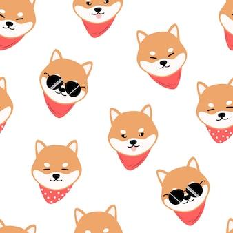 Симпатичные шиба ину собака мультфильм каракули бесшовный фон