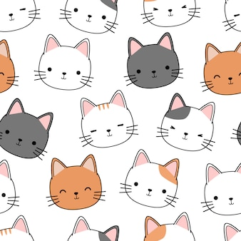 Милый котенок голова кота мультфильм каракули бесшовный фон