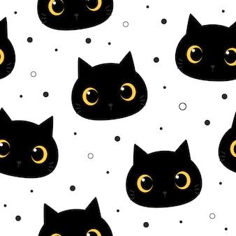 Симпатичные большие глаза черный кот котенок мультяшный каракули бесшовный фон