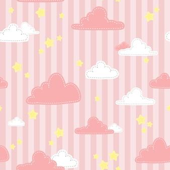 Симпатичные розовые полосы неба и облака мультяшный каракули бесшовный фон