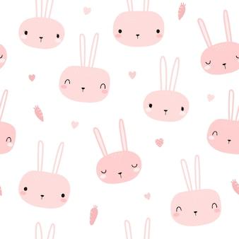 かわいいピンクのウサギバニー頭漫画落書きシームレスパターン