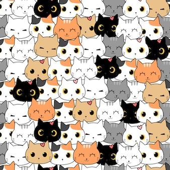 Милый кот котенок мультяшный каракули бесшовный фон