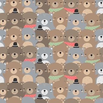 かわいいテディベア漫画のシームレスなパターンの壁紙