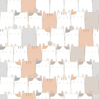 Симпатичная кошка пастельный мультфильм каракули бесшовный фон, упаковочная бумага