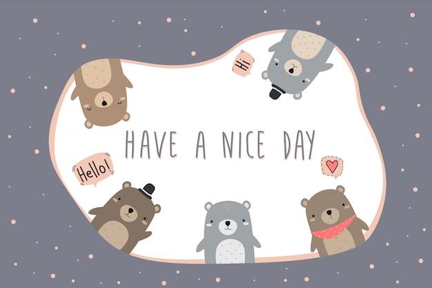Милый очаровательный плюшевый мишка приветствие мультфильм каракули