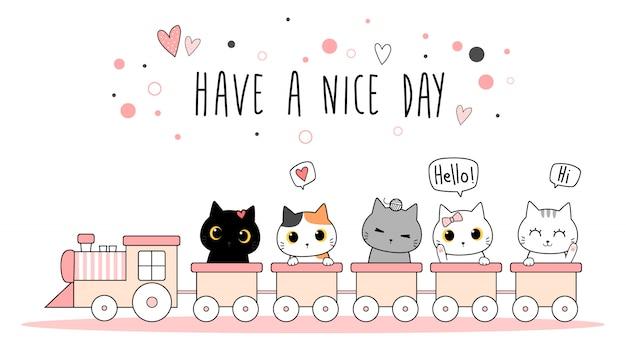 電車の漫画のかわいい愛らしい猫子猫