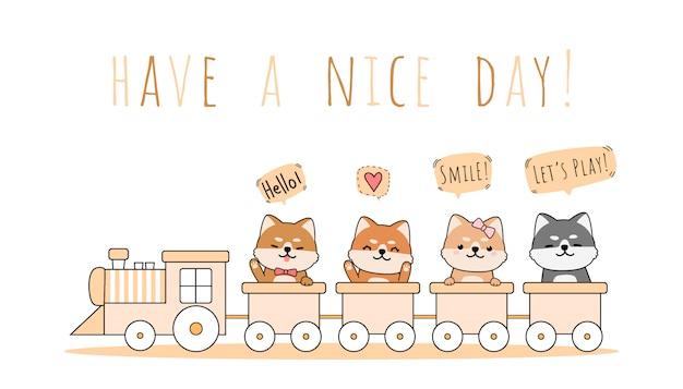Симпатичные шиба ину езда поезд приветствие мультфильм каракули