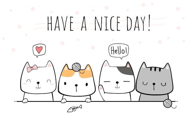 かわいい手描きの猫子猫家族挨拶漫画落書き