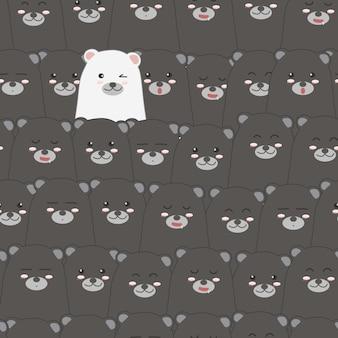 かわいい白いクマと黒のシームレスなパターンの背景