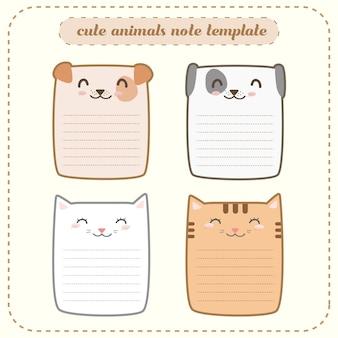 かわいいかわいい幸せな動物ノートテンプレートラベル紙のカード