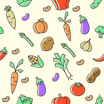 カラフルな野菜のシームレスパターン