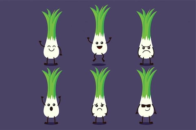 Милый овощной характер редьки, изолированный в нескольких выражениях