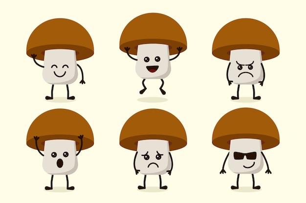 Характер милого грибного овоща, изолированный в нескольких выражениях