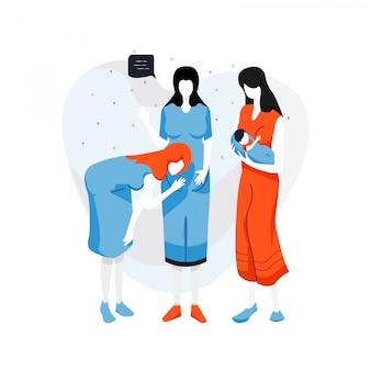 かわいいフラットイラスト妊婦グループ。妊娠の漫画のベクトル図。