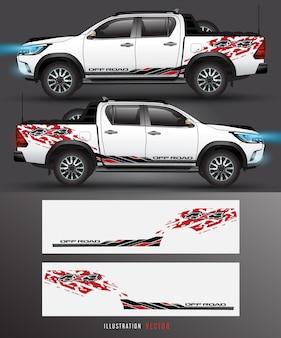 Вектор тележки и автомобиля привода на четыре колеса графический. дизайн абстрактных линий для автомобиля винил