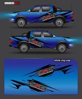 Полноприводный грузовик и автомобильная наклейка. абстрактные линии с синим фоном дизайна для транспортного средства виниловой пленкой