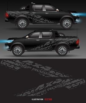 Полноприводный грузовик и автомобильная графика. абстрактные линии с белым фоном дизайна для автомобиля