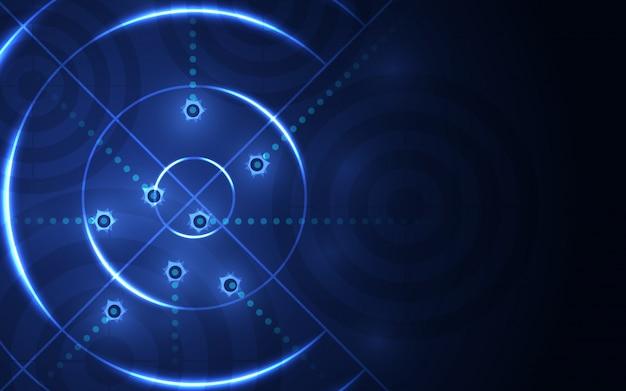 Абстрактная синяя цель, стрельба на черном фоне. съемка целевого успеха