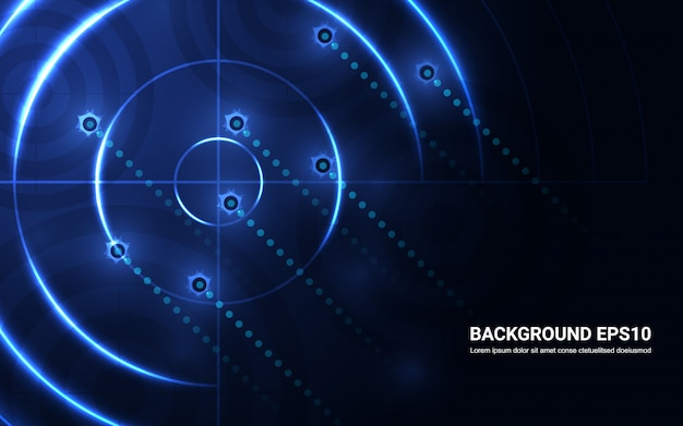 抽象的な青いターゲット、黒の背景に撮影範囲。射撃目標成功の解決策
