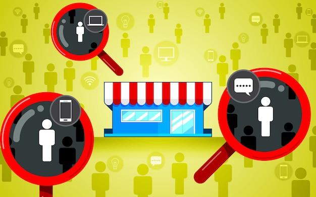 ターゲットオーディエンス、フォーカス顧客。虫眼鏡、店舗のフラットデザイン、アイコンビジネス