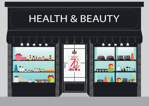 化粧品店建物の正面図